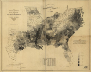 Map showing distribution of enslaved population